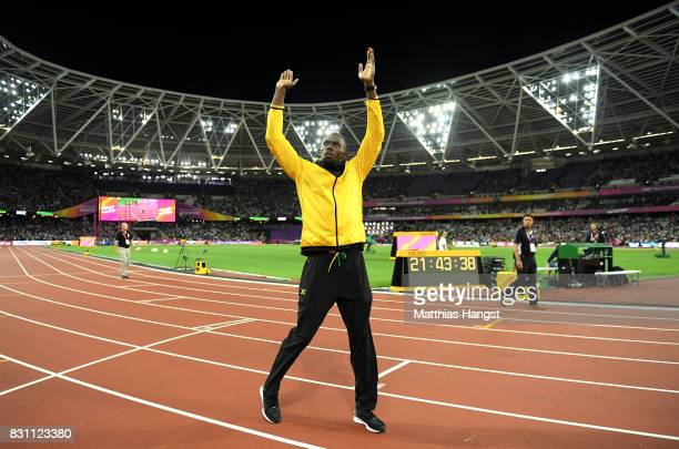 Usain Bolt of Jamaica bids farewell after his last World Athletics Championships during day ten of the 16th IAAF World Athletics Championships London...