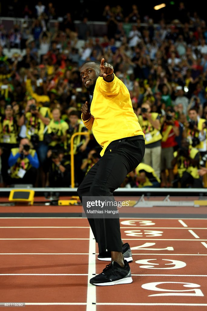 Usain Bolt of Jamaica bids farewell to fans after his last World Athletics Championships during day ten of the 16th IAAF World Athletics Championships London 2017 at The London Stadium on August 13, 2017 in London, United Kingdom.