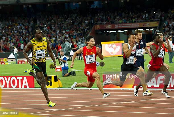Usain Bolt of Jamaica Bingtian Su of China Andre De Grasse of Canada Christophe Lemaitre of France Trayvon Bromell of the United States and Julian...