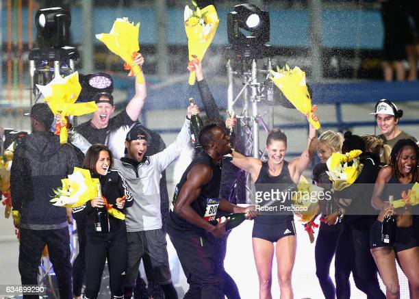 Usain Bolt of Jamaica celebrates after his AllStar team wins the event during the Melbourne Nitro Athletics Series at Lakeside Stadium on February 11...