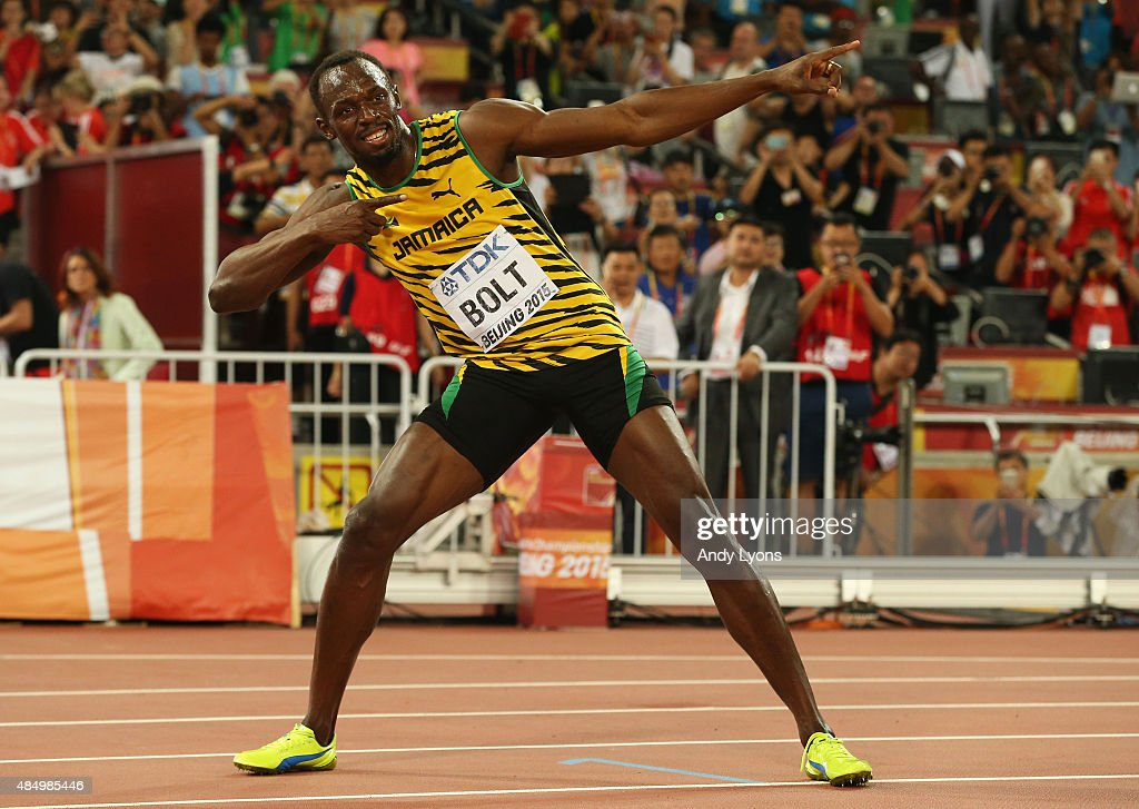 <a gi-track='captionPersonalityLinkClicked' href=/galleries/search?phrase=Usain+Bolt&family=editorial&specificpeople=604196 ng-click='$event.stopPropagation()'>Usain Bolt</a> of Jamaica celebrates after winning gold in the Men's 100 metres final during day two of the 15th IAAF World Athletics Championships Beijing 2015 at Beijing National Stadium on August 23, 2015 in Beijing, China.