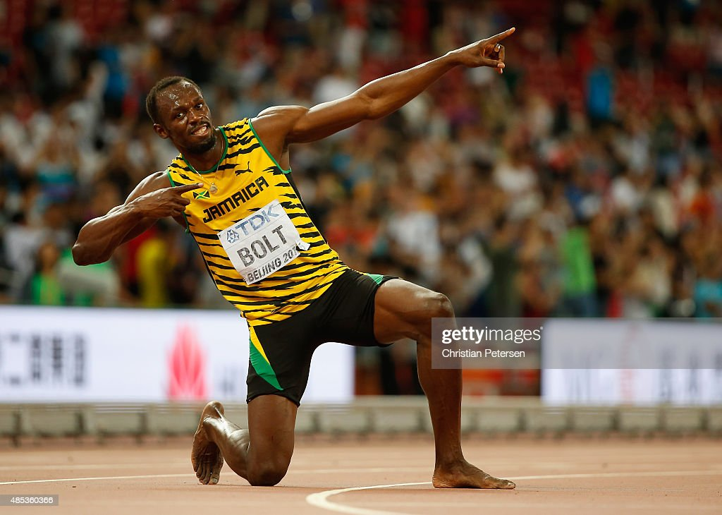 <a gi-track='captionPersonalityLinkClicked' href=/galleries/search?phrase=Usain+Bolt&family=editorial&specificpeople=604196 ng-click='$event.stopPropagation()'>Usain Bolt</a> of Jamaica celebrates after winning gold in the Men's 200 metres final during day six of the 15th IAAF World Athletics Championships Beijing 2015 at Beijing National Stadium on August 27, 2015 in Beijing, China.