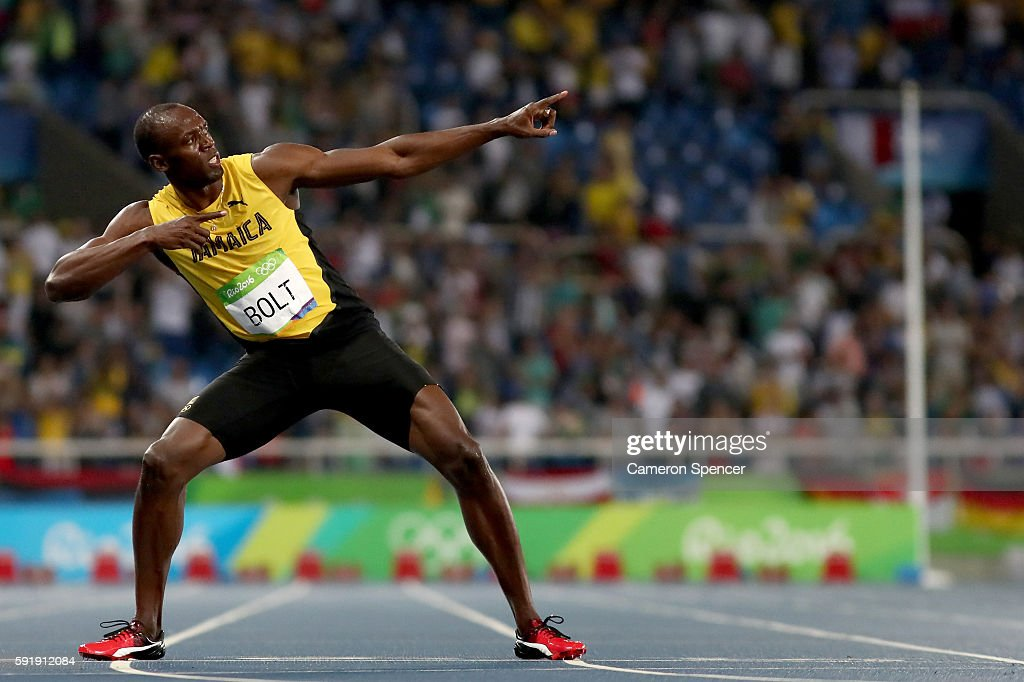 Usain Bolt of Jamaica celebrates after winning the Mens 200m final on Day 13 of the Rio 2016 Olympic Games at the Olympic Stadium on August 18, 2016 in Rio de Janeiro, Brazil.