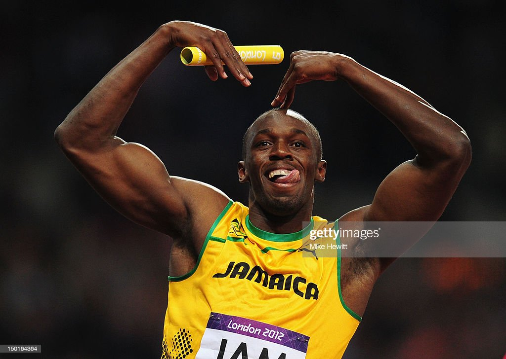 Usain Bolt of Jamaica celebrates winning gold and setting a new world record of 36.84 during the Men's 4 x 100m Relay Final on Day 15 of the London 2012 Olympic Games at Olympic Stadium on August 11, 2012 in London, England.