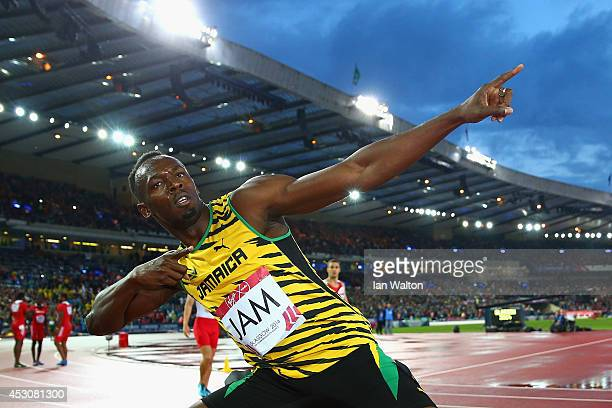Usain Bolt of Jamaica celebrates winning gold in the Men's 4x100 metres relay final at Hampden Park during day ten of the Glasgow 2014 Commonwealth...
