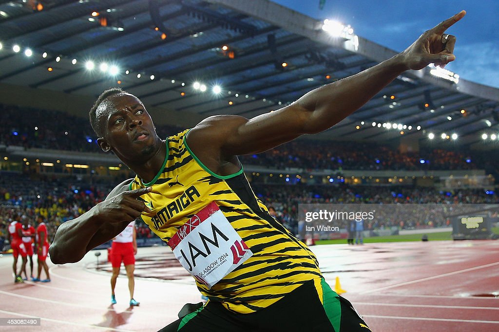 <a gi-track='captionPersonalityLinkClicked' href=/galleries/search?phrase=Usain+Bolt&family=editorial&specificpeople=604196 ng-click='$event.stopPropagation()'>Usain Bolt</a> of Jamaica celebrates winning gold in the Men's 4x100 metres relay final at Hampden Park during day ten of the Glasgow 2014 Commonwealth Games on August 2, 2014 in Glasgow, United Kingdom.