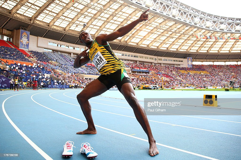 <a gi-track='captionPersonalityLinkClicked' href=/galleries/search?phrase=Usain+Bolt&family=editorial&specificpeople=604196 ng-click='$event.stopPropagation()'>Usain Bolt</a> of Jamaica celebrates winning gold in the Men's 4x100 metres final during Day Nine of the 14th IAAF World Athletics Championships Moscow 2013 at Luzhniki Stadium on August 18, 2013 in Moscow, Russia.