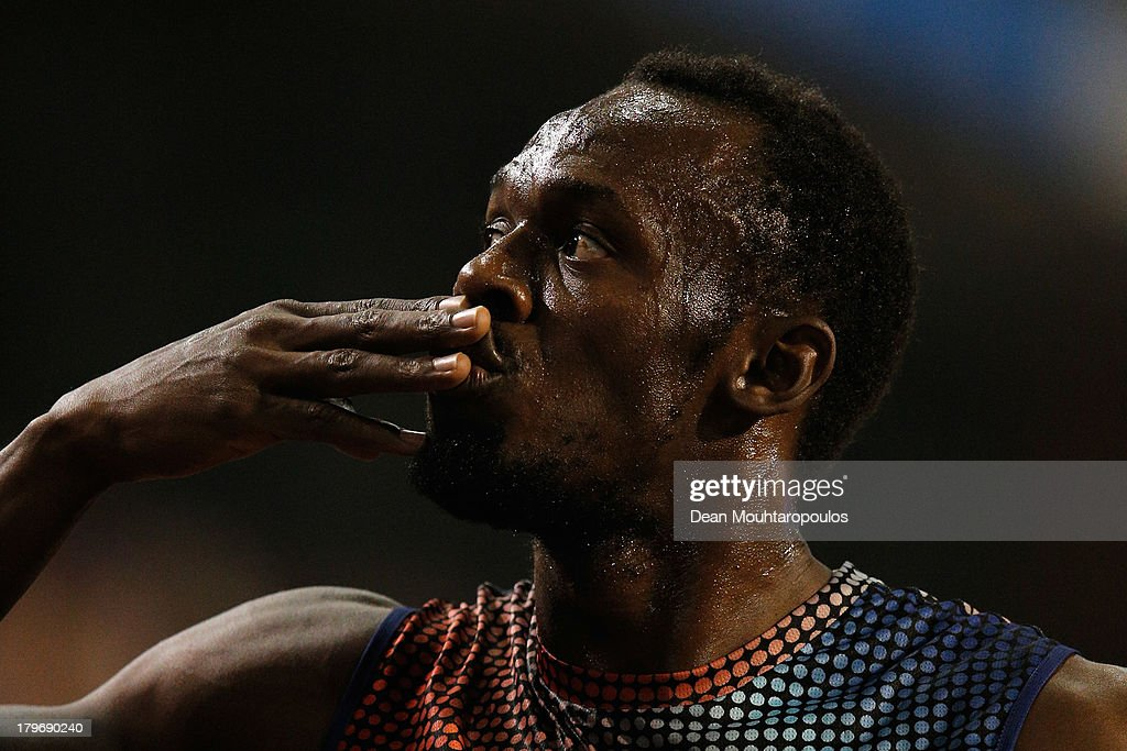 <a gi-track='captionPersonalityLinkClicked' href=/galleries/search?phrase=Usain+Bolt&family=editorial&specificpeople=604196 ng-click='$event.stopPropagation()'>Usain Bolt</a> of Jamaica celebrates winning the 100m final during the 2013 Belgacom Memorial Van Damme IAAF Diamond League meet at The King Baudouin Stadium on September 6, 2013 in Brussels, Belgium.