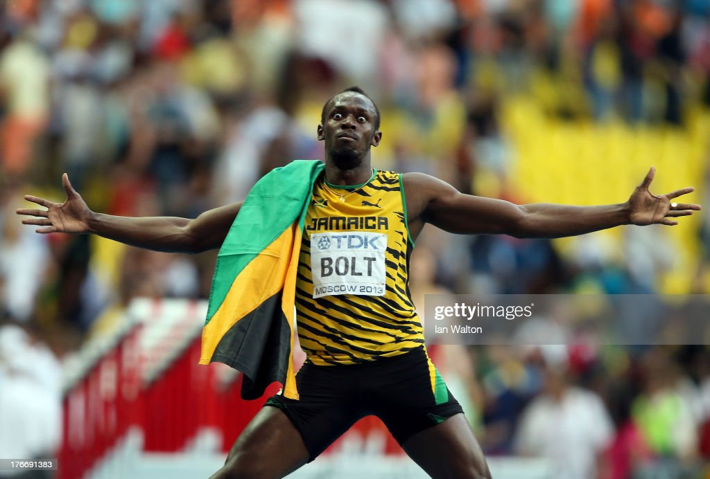 <a gi-track='captionPersonalityLinkClicked' href=/galleries/search?phrase=Usain+Bolt&family=editorial&specificpeople=604196 ng-click='$event.stopPropagation()'>Usain Bolt</a> of Jamaica celebrates winning the gold medal in the Men's 200 metres final during Day Eight of the 14th IAAF World Athletics Championships Moscow 2013 at Luzhniki Stadium on August 17, 2013 in Moscow, Russia.