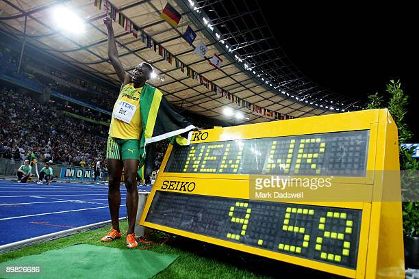 Usain Bolt of Jamaica celebrates winning the gold medal in the men's 100 Metres Final during day two of the 12th IAAF World Athletics Championships...