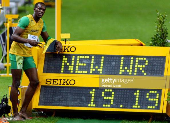 Usain Bolt of Jamaica celebrates winning the gold medal in the men's 200 Metres Final during day six of the 12th IAAF World Athletics Championships...