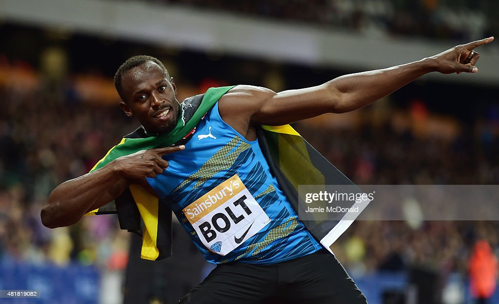 <a gi-track='captionPersonalityLinkClicked' href=/galleries/search?phrase=Usain+Bolt&family=editorial&specificpeople=604196 ng-click='$event.stopPropagation()'>Usain Bolt</a> of Jamaica celebrates winning the Mens 100m final during day one of the Sainsbury's Anniversary Games at The Stadium - Queen Elizabeth Olympic Park on July 24, 2015 in London, England.