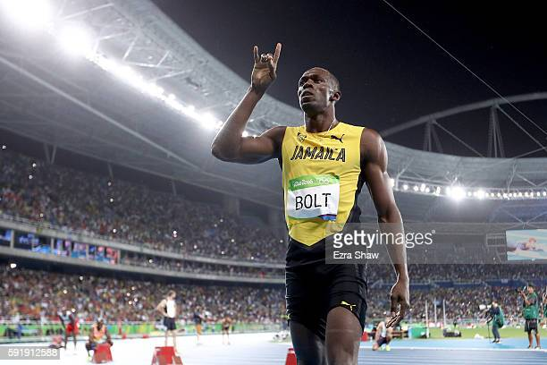 Usain Bolt of Jamaica celebrates winning the Men's 200m Final on Day 13 of the Rio 2016 Olympic Games at the Olympic Stadium on August 18 2016 in Rio...