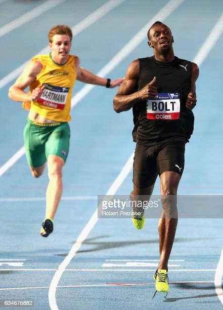 Usain Bolt of Jamaica competes in men 150 metre during the Melbourne Nitro Athletics Series at Lakeside Stadium on February 11 2017 in Melbourne...