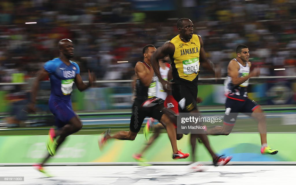 Usain Bolt of Jamaica competes in the final of the Men's 200m on Day 13 of the Rio 2016 Olympic Games at the Olympic Stadium on August 18 2016 in Rio...