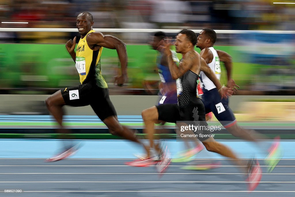 Usain Bolt of Jamaica competes in the Men's 100 meter semifinal on Day 9 of the Rio 2016 Olympic Games at the Olympic Stadium on August 14 2016 in...