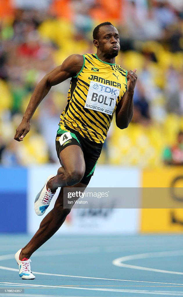 <a gi-track='captionPersonalityLinkClicked' href=/galleries/search?phrase=Usain+Bolt&family=editorial&specificpeople=604196 ng-click='$event.stopPropagation()'>Usain Bolt</a> of Jamaica competes in the Men's 200 metres semi finals during Day Seven of the 14th IAAF World Athletics Championships Moscow 2013 at Luzhniki Stadium at Luzhniki Stadium on August 16, 2013 in Moscow, Russia.