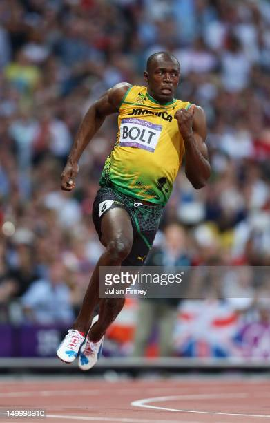 Usain Bolt of Jamaica competes in the Men's 200m Semifinals on Day 12 of the London 2012 Olympic Games at Olympic Stadium on August 8 2012 in London...