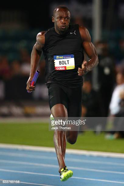 Usain Bolt of Jamaica competes in the Mixed 4x100m Metre Relay during Nitro Athletics at Lakeside Stadium on February 4 2017 in Melbourne Australia