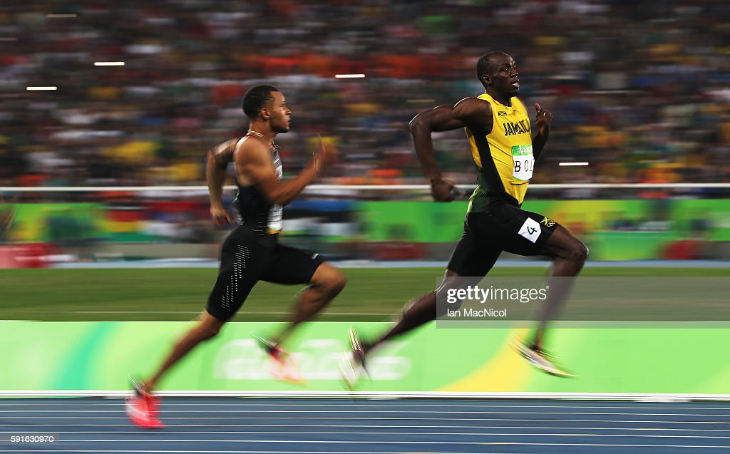 Usain Bolt of Jamaica competes in the semi final's of the Men's 200m on Day 12 of the Rio 2016 Olympic Games at the Olympic Stadium on August 17 2016...