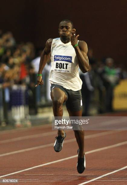 Usain Bolt of Jamaica competes on his way to winning the Men's 100m during the IAAF Golden League meeting at the Memorial Van Damme Stadium on...
