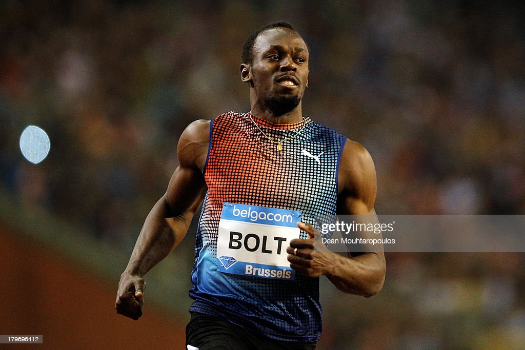 <a gi-track='captionPersonalityLinkClicked' href=/galleries/search?phrase=Usain+Bolt&family=editorial&specificpeople=604196 ng-click='$event.stopPropagation()'>Usain Bolt</a> of Jamaica competesa and wins the 100m mens final during the 2013 Belgacom Memorial Van Damme IAAF Diamond League meet at The King Baudouin Stadium on September 6, 2013 in Brussels, Belgium.