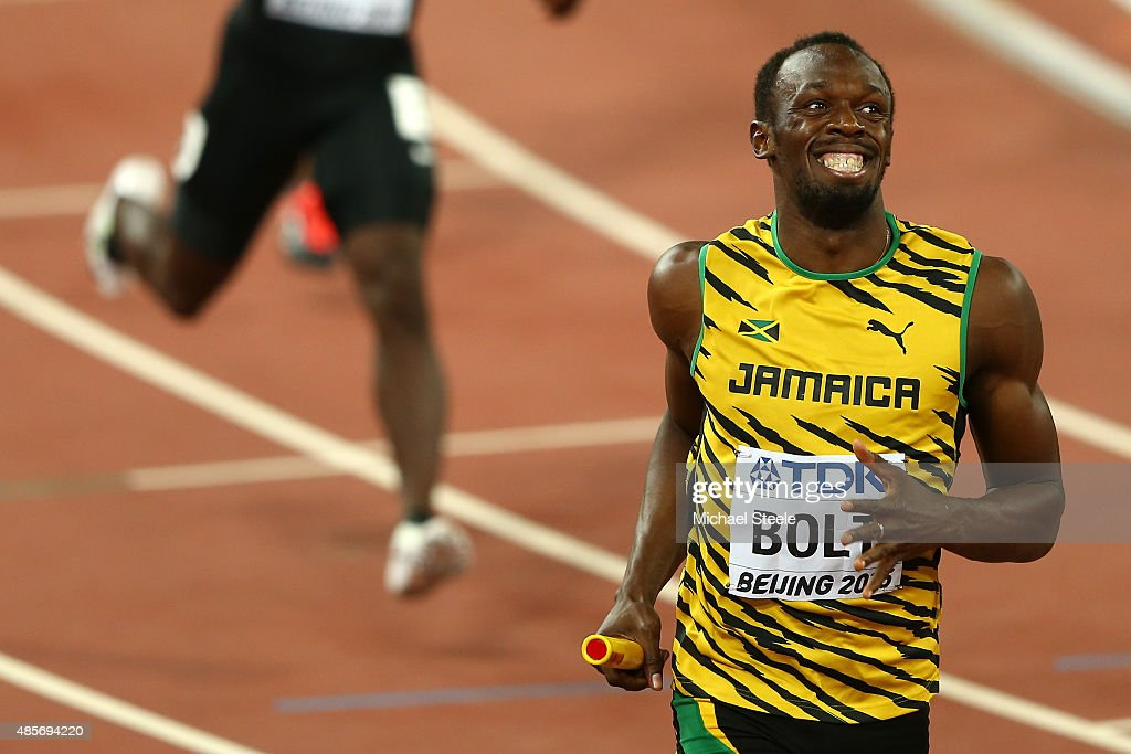 <a gi-track='captionPersonalityLinkClicked' href=/galleries/search?phrase=Usain+Bolt&family=editorial&specificpeople=604196 ng-click='$event.stopPropagation()'>Usain Bolt</a> of Jamaica crosses the finish line to win gold in the Men's 4x100 Metres Relay final during day eight of the 15th IAAF World Athletics Championships Beijing 2015 at Beijing National Stadium on August 29, 2015 in Beijing, China.
