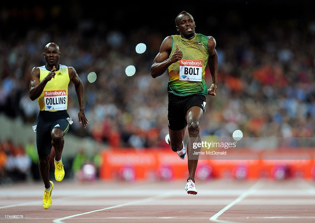 Usain Bolt of Jamaica crosses the line first in the Men's 100m A race on day one during the Sainsbury's Anniversary Games - IAAF Diamond League 2013 at The Queen Elizabeth Olympic Park on July 26, 2013 in London, England.