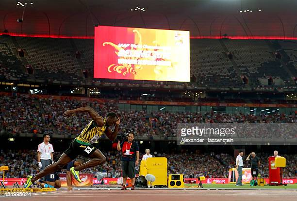 Usain Bolt of Jamaica during a practise start for the Men's 100 metres final during day two of the 15th IAAF World Athletics Championships Beijing...