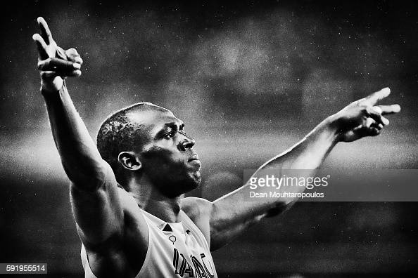 Usain Bolt of Jamaica gets ready to compete in the Men's 200m Final on Day 13 of the Rio 2016 Olympic Games at the Olympic Stadium on August 18 2016...