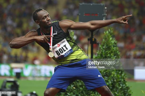 Usain Bolt of Jamaica in familiar pose after victory in the men's 100m during the IAAF Diamond League Meeting Herculis on July 21 2017 in Monaco...
