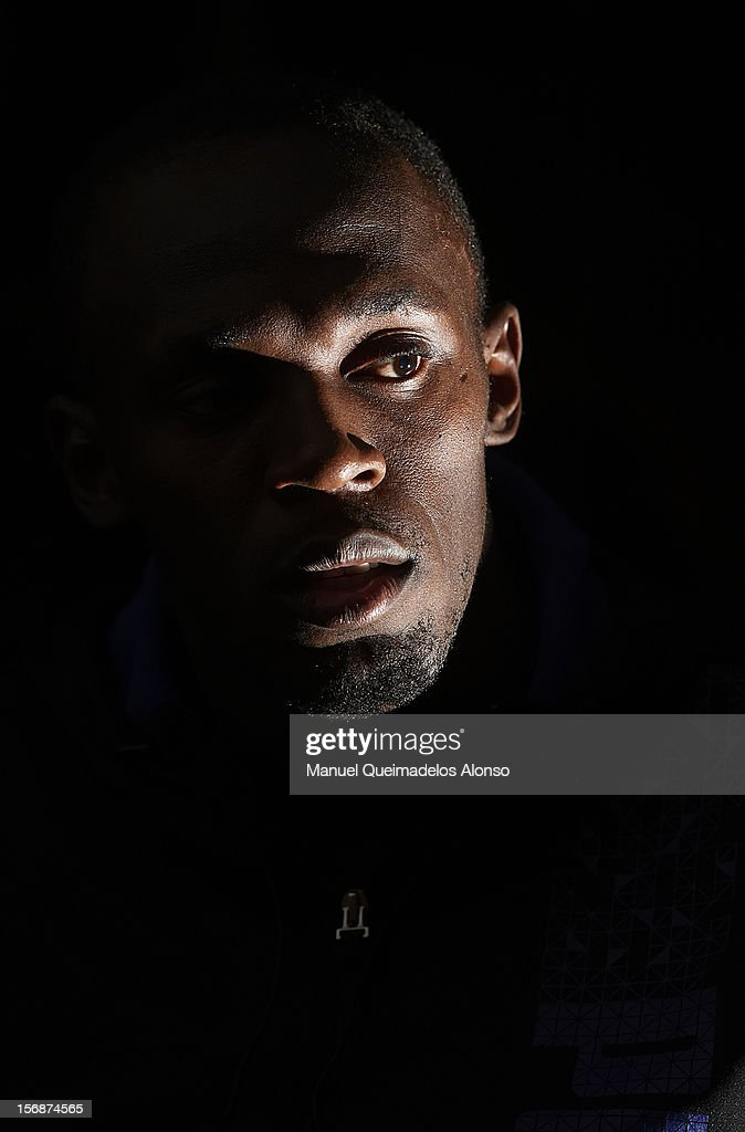 <a gi-track='captionPersonalityLinkClicked' href=/galleries/search?phrase=Usain+Bolt&family=editorial&specificpeople=604196 ng-click='$event.stopPropagation()'>Usain Bolt</a> of Jamaica in press conference during the preview day of the IAAF athlete of the year award at the IAAF Centenary Gala on November 23, 2012 in Barcelona, Spain.