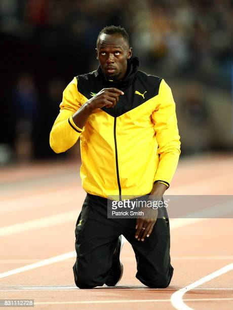 Usain Bolt of Jamaica is honored after his last World Athletics Championships during day ten of the 16th IAAF World Athletics Championships London...