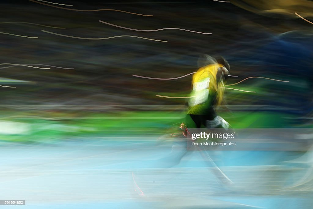 Usain Bolt of Jamaica launches from the start line during the Men's 200m Final on Day 13 of the Rio 2016 Olympic Games at the Olympic Stadium on...