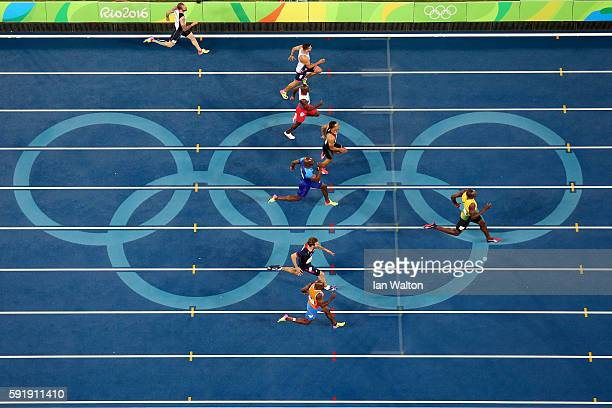 Usain Bolt of Jamaica leads the field to win the Men's 200m final on Day 13 of the Rio 2016 Olympic Games at the Olympic Stadium on August 18 2016 in...