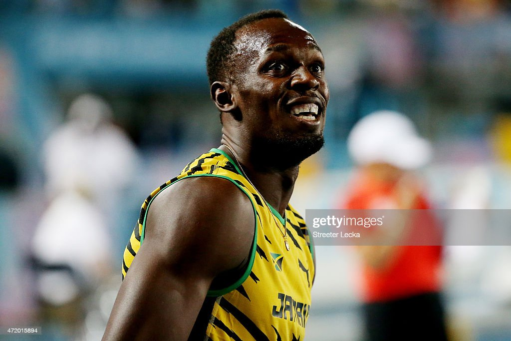 <a gi-track='captionPersonalityLinkClicked' href=/galleries/search?phrase=Usain+Bolt&family=editorial&specificpeople=604196 ng-click='$event.stopPropagation()'>Usain Bolt</a> of Jamaica looks on after the final of the men's 4 x 100 metres on day one of the IAAF World Relays at Thomas Robinson Stadium on May 2, 2015 in Nassau, Bahamas.