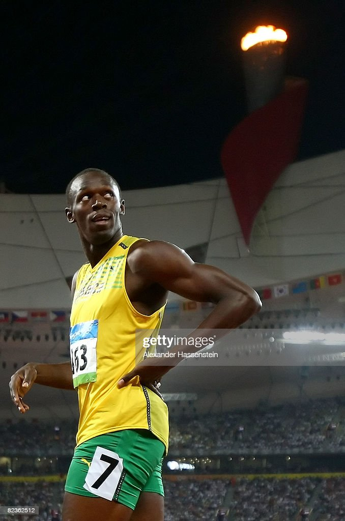 Usain Bolt of Jamaica looks up at the scoreboard after his Men's 100m Heats at the National Stadium on Day 7 of the Beijing 2008 Olympic Games on August 15, 2008 in Beijing, China. Usain Bolt of Jamaica finished the event in first place with a time of 9.92.