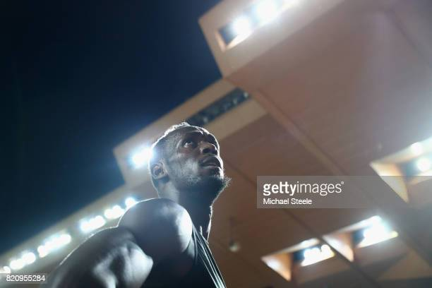 Usain Bolt of Jamaica on his lap of honour after victory in the men's 100m during the IAAF Diamond League Meeting Herculis on July 21 2017 in Monaco...