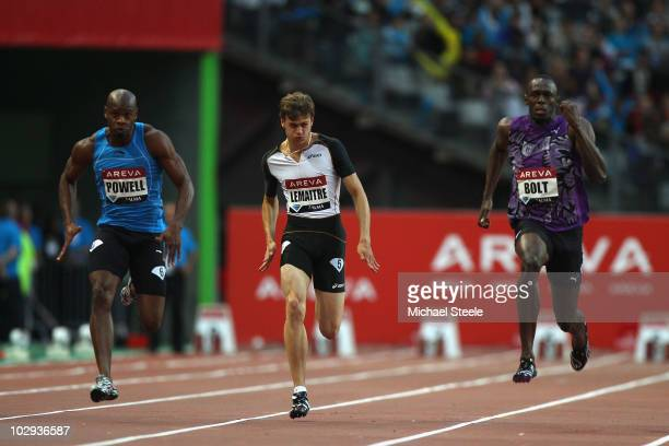 Usain Bolt of Jamaica on his way to victory in the men's 100m from Christophe Lemaitre of France and Asafa Powell of Jamaica during the IAAF Diamond...