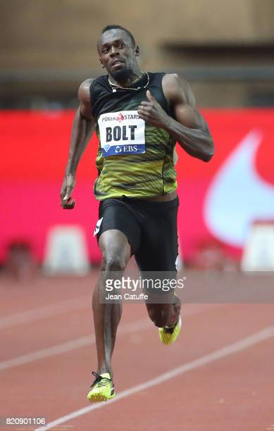 Usain Bolt of Jamaica participates in his last 100m in a meeting during the IAAF Diamond League Meeting Herculis 2017 on July 21 2017 in Monaco Monaco