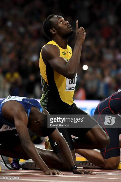 Usain Bolt of Jamaica points to the sky prior to the mens 100m final during day two of the 16th IAAF World Athletics Championships London 2017 at The...