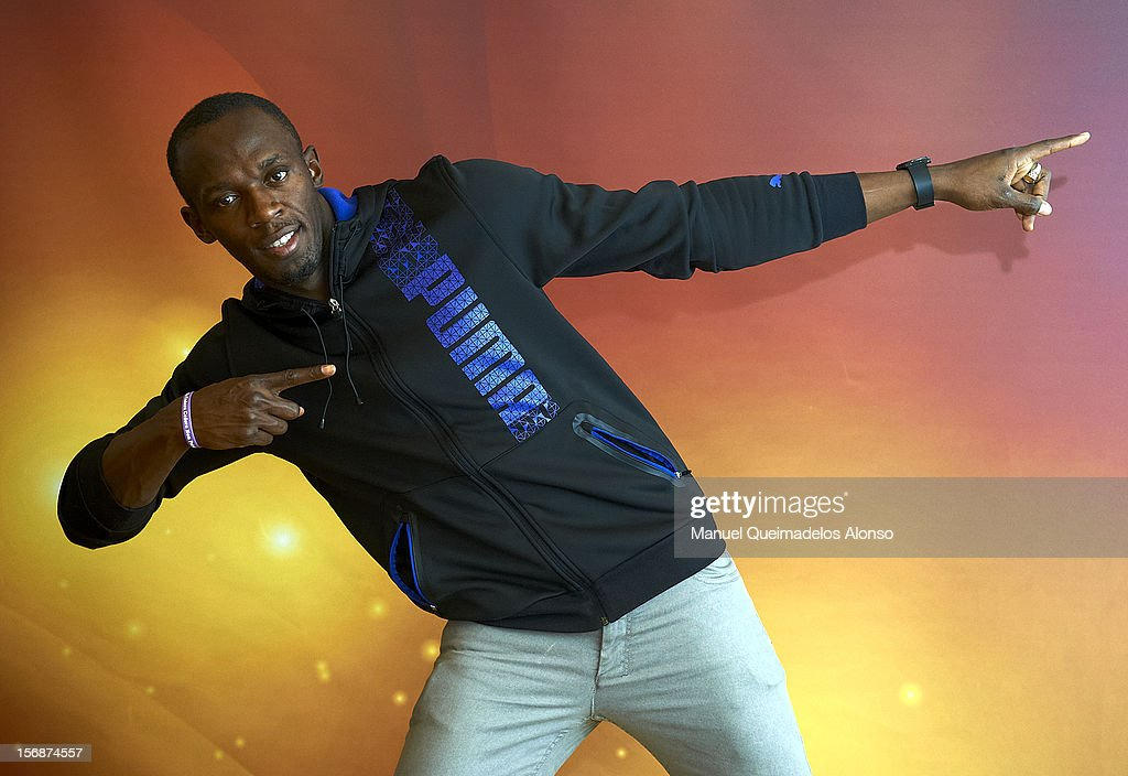 <a gi-track='captionPersonalityLinkClicked' href=/galleries/search?phrase=Usain+Bolt&family=editorial&specificpeople=604196 ng-click='$event.stopPropagation()'>Usain Bolt</a> of Jamaica poses during the preview day of the IAAF athlete of the year award at the IAAF Centenary Gala on November 23, 2012 in Barcelona, Spain.