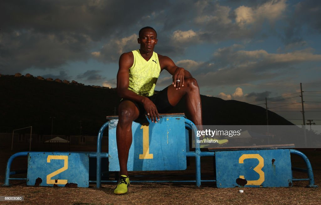 <a gi-track='captionPersonalityLinkClicked' href=/galleries/search?phrase=Usain+Bolt&family=editorial&specificpeople=604196 ng-click='$event.stopPropagation()'>Usain Bolt</a> of Jamaica poses for a portrait during a training feature at the National Stadium on April 6, 2009 in Kingston, Jamaica.