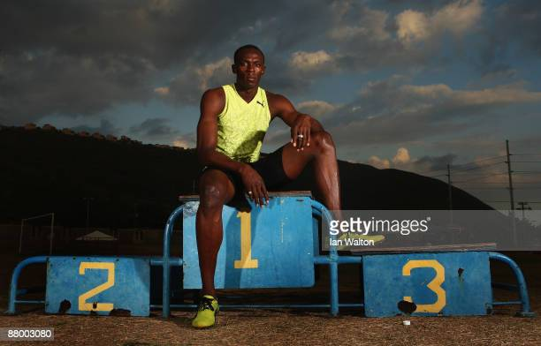 Usain Bolt of Jamaica poses for a portrait during a training feature at the National Stadium on April 6 2009 in Kingston Jamaica
