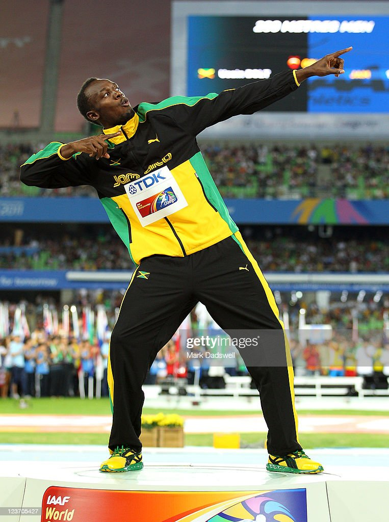 Usain Bolt of Jamaica poses with his gold medal during the medal ceremony for the men's 200 metres final during day nine of 13th IAAF World Athletics Championships at Daegu Stadium on September 4, 2011 in Daegu, South Korea.
