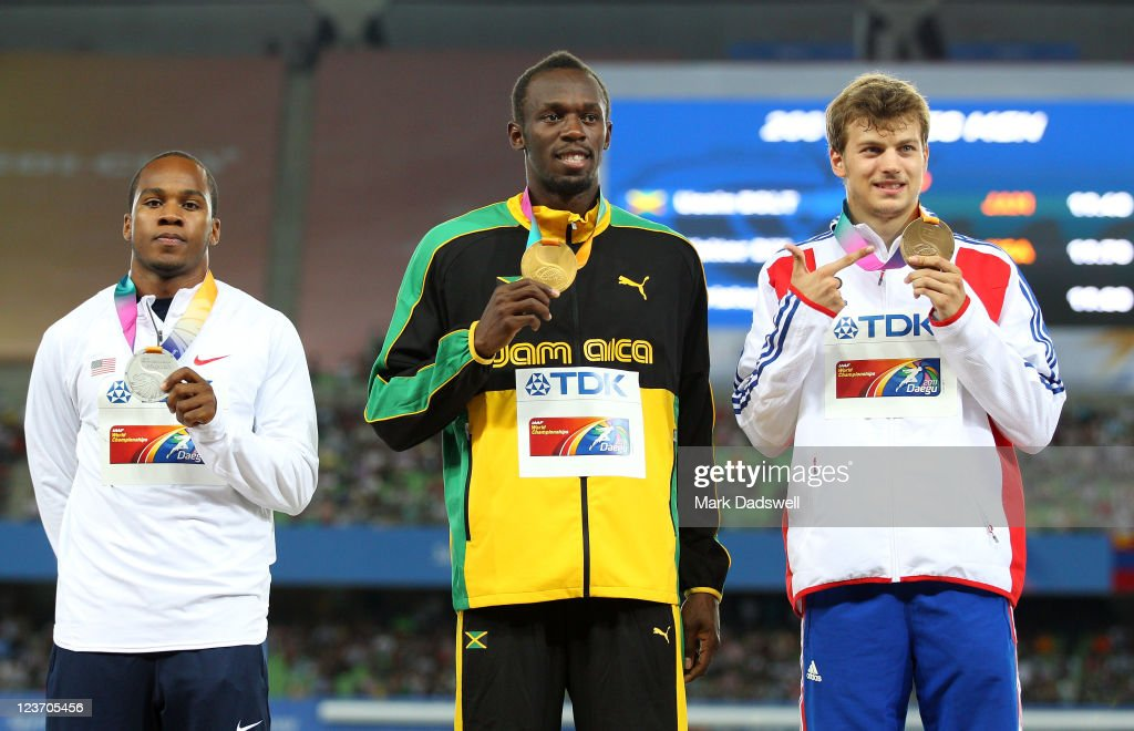 <a gi-track='captionPersonalityLinkClicked' href=/galleries/search?phrase=Usain+Bolt&family=editorial&specificpeople=604196 ng-click='$event.stopPropagation()'>Usain Bolt</a> of Jamaica poses with his gold medal, <a gi-track='captionPersonalityLinkClicked' href=/galleries/search?phrase=Walter+Dix+-+Sprinter&family=editorial&specificpeople=2335418 ng-click='$event.stopPropagation()'>Walter Dix</a> of the USA his silver and <a gi-track='captionPersonalityLinkClicked' href=/galleries/search?phrase=Christophe+Lemaitre&family=editorial&specificpeople=5431868 ng-click='$event.stopPropagation()'>Christophe Lemaitre</a> of France his bronze during the medal ceremony for the men's 200 metres final during day nine of 13th IAAF World Athletics Championships at Daegu Stadium on September 4, 2011 in Daegu, South Korea.