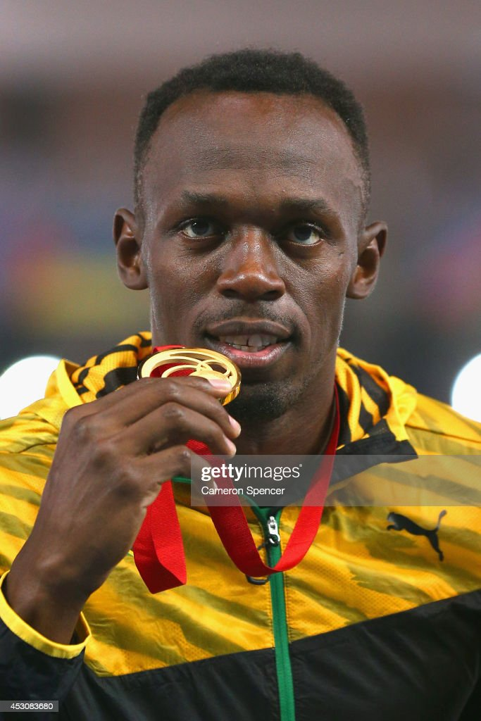 <a gi-track='captionPersonalityLinkClicked' href=/galleries/search?phrase=Usain+Bolt&family=editorial&specificpeople=604196 ng-click='$event.stopPropagation()'>Usain Bolt</a> of Jamaica poses with his medal on the podium during the medal ceremony for the Men's 4x100 metres relay at Hampden Park during day ten of the Glasgow 2014 Commonwealth Games on August 2, 2014 in Glasgow, United Kingdom.