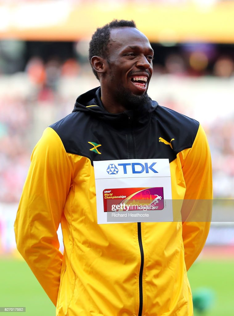 Usain Bolt of Jamaica prepares to receive the bronze medal for the Men's 100 metres during day three of the 16th IAAF World Athletics Championships London 2017 at The London Stadium on August 6, 2017 in London, United Kingdom.