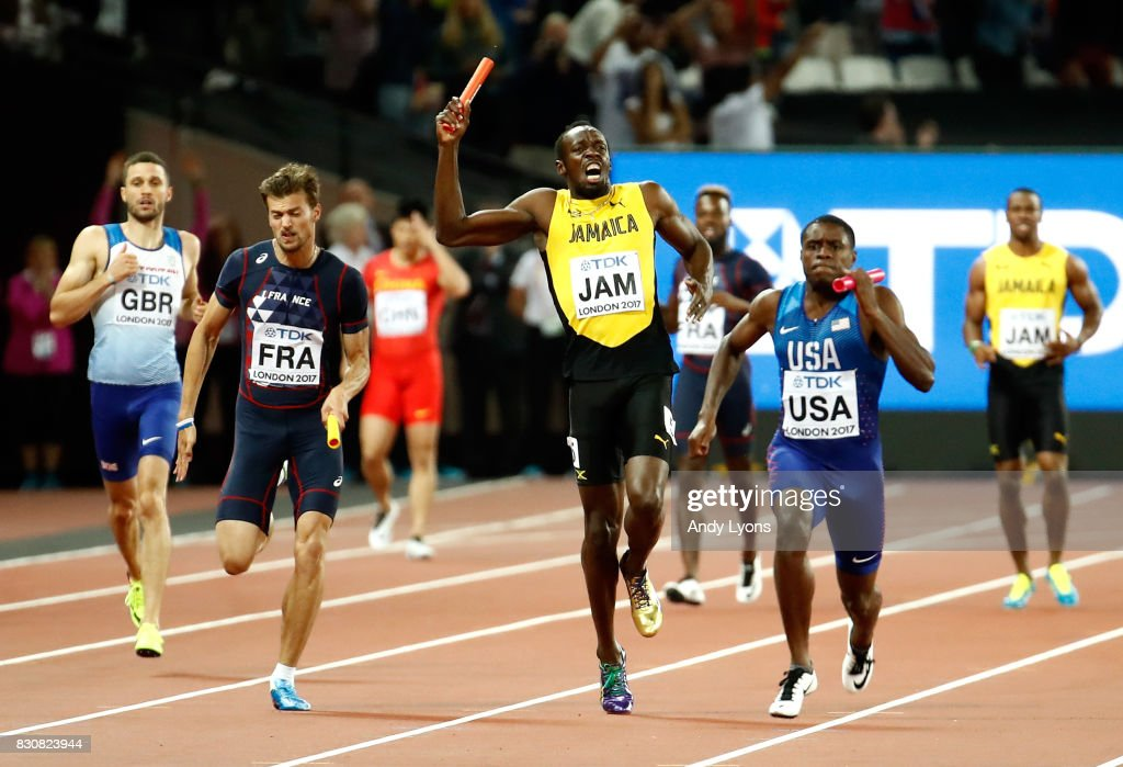 Usain Bolt of Jamaica pulls up injured during the Men's 4x100 Relay final during day nine of the 16th IAAF World Athletics Championships London 2017 at The London Stadium on August 12, 2017 in London, United Kingdom.