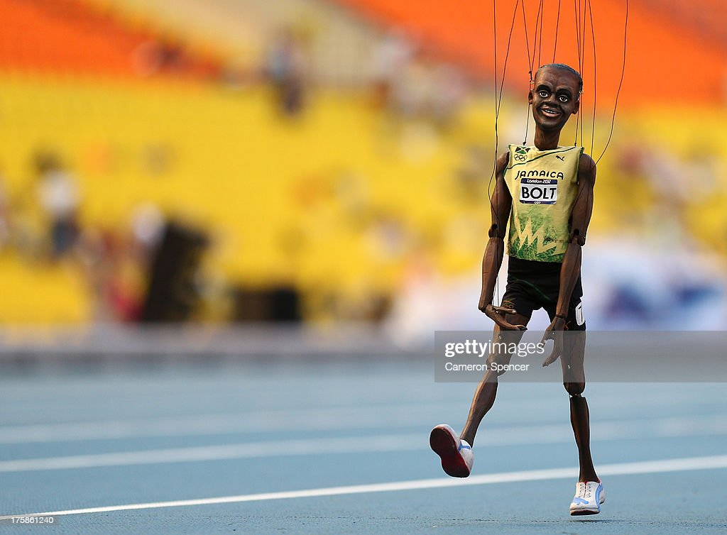 A <a gi-track='captionPersonalityLinkClicked' href=/galleries/search?phrase=Usain+Bolt&family=editorial&specificpeople=604196 ng-click='$event.stopPropagation()'>Usain Bolt</a> of Jamaica puppet is seen on the track ahead of the 14th IAAF World Athletics Championships Moscow 2013 at the Luzhniki Sports Complex on August 9, 2013 in Moscow, Russia.